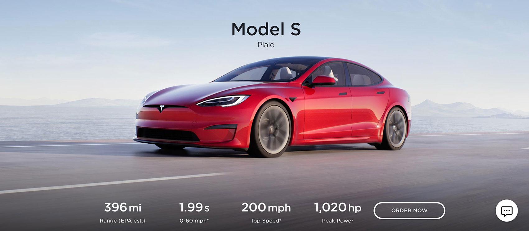 Sales page - esempio Tesla