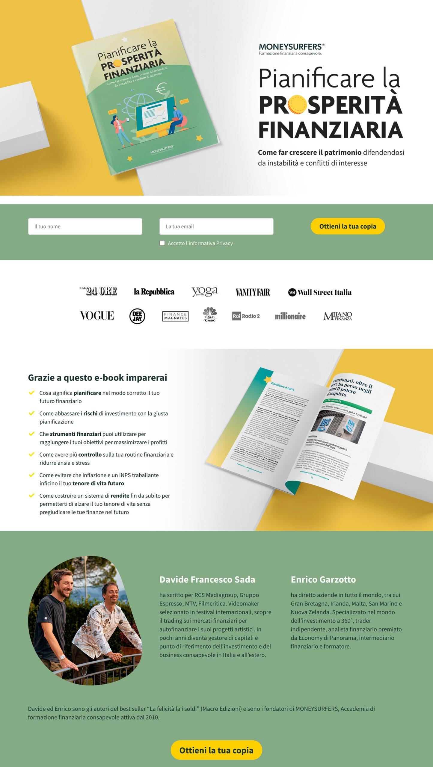 Landing page efficace - esempio moneysurfers